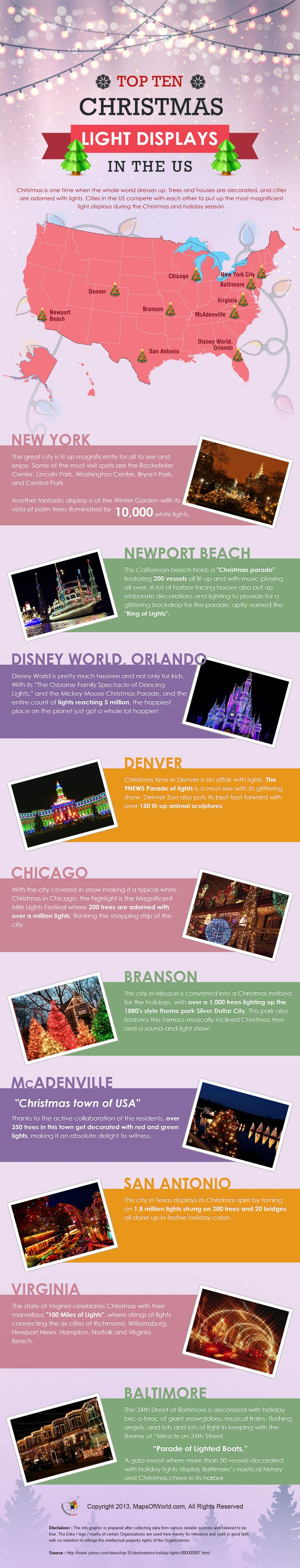 Cities that are known to dazzle visitors with their magnificent Christmas light displays in the USA - An Infographic!