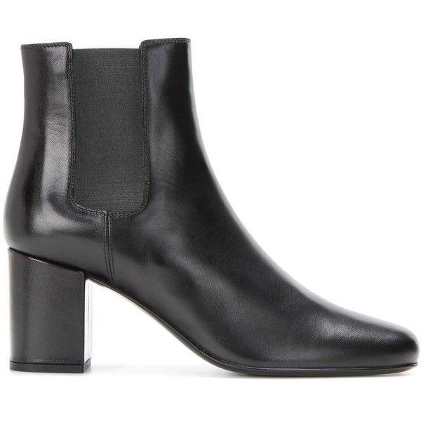 Saint Laurent Babies Leather Chelsea Boots ($815) ❤ liked on Polyvore featuring chelsea bootie, chelsea boots, black leather shoes, genuine leather shoes and yves saint laurent shoes