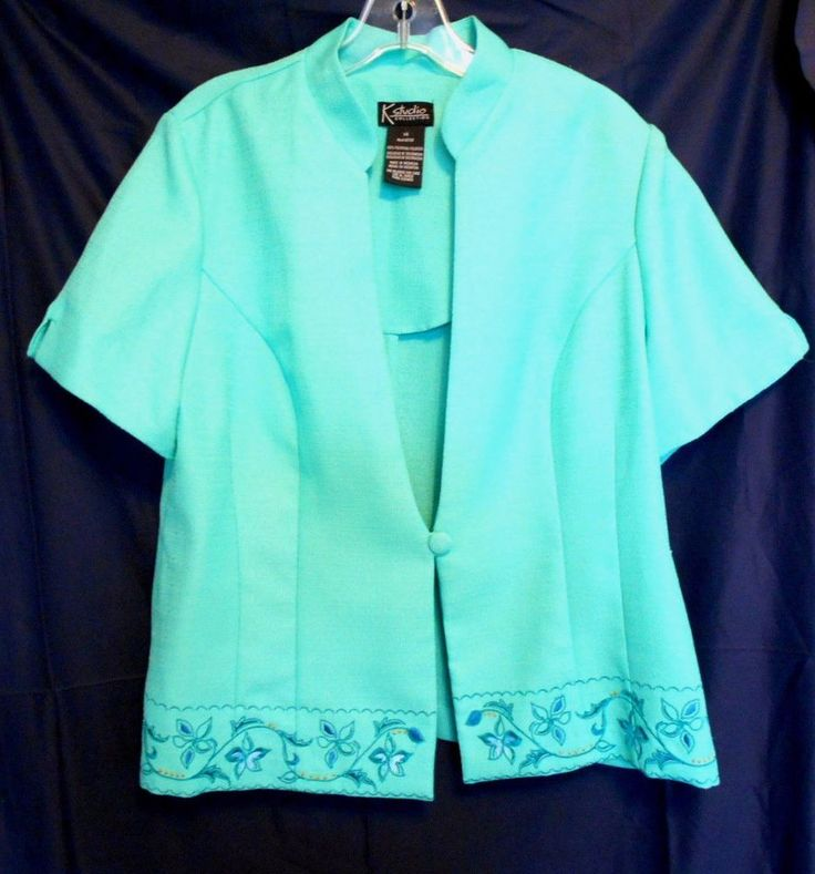 K Studio Collection Size 14 Green Short Sleeve Top 1 Button Closure Embroidery  #KStudioCollection #Tunic #Career
