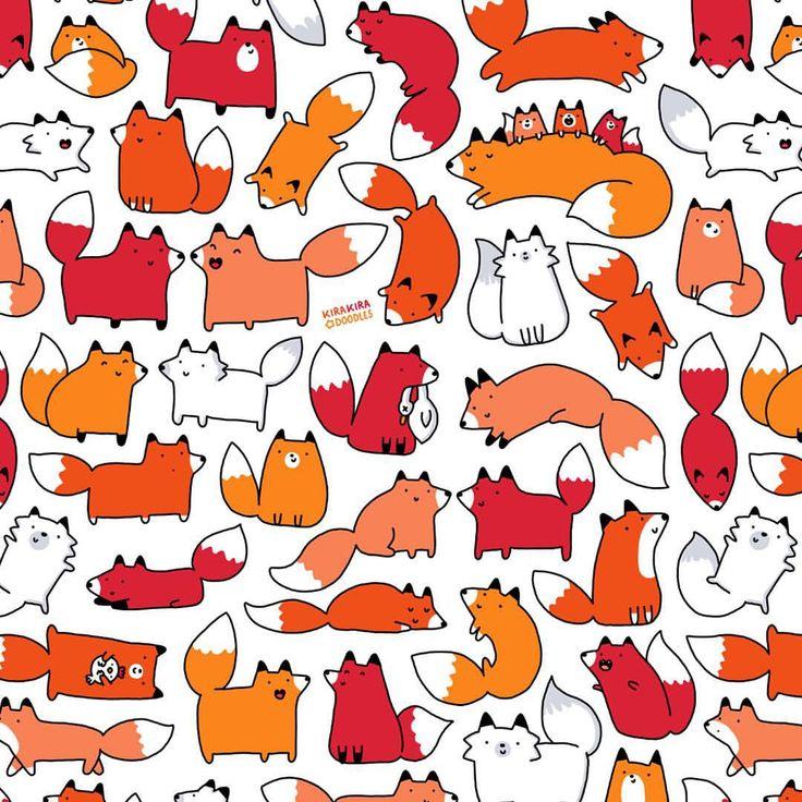 キラキラ DOODLES — Made a kawaii pattern of my cute Fox doodle...