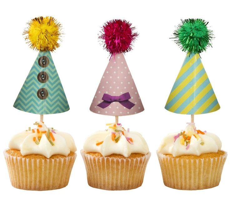 Frills & Frosting Pom Pom Party Hat Shaped Cupcake Toppers // Talking Tables