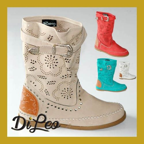 Wide Range Colour Summer Studded Boots 198 Beautiful boots with low heel in synthetic leather. Italian design! Trendy boots!  At great price € 12,90!! +delivery   www.dileocalzature.it