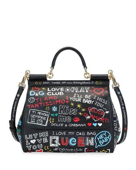 Dolce   Gabbana Handbags at Neiman Marcus. Sicily St. Dauphine Medium  Graffiti Top Handle Bag 7b8010e357
