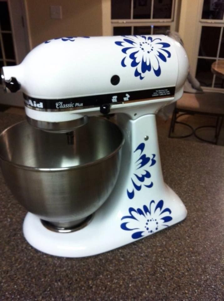 Love the clean look of navy and white decorate your kitchenaid mixer with uppercaseliving - Decorated kitchenaid mixer ...