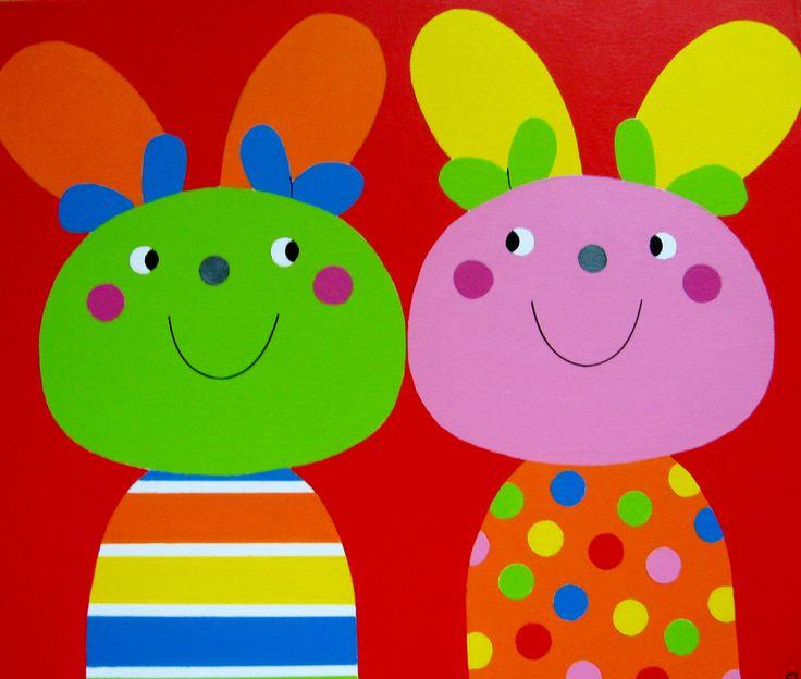 Zusjes vrolijke nijntjes voor de kinderkamer kinderkamer schilderijen kinderkamer kunst - Babykamer schilderij idee ...