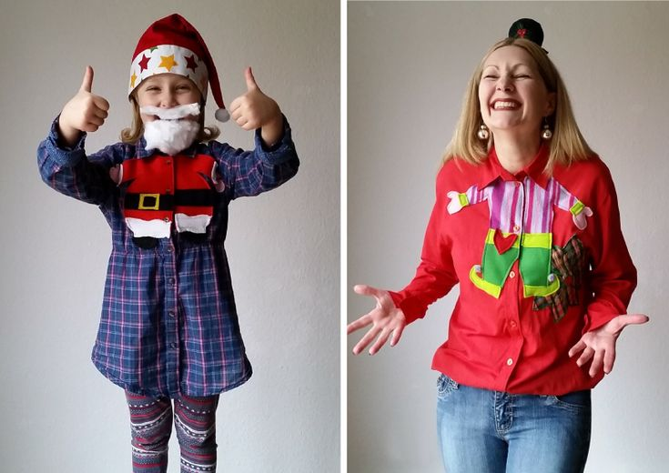 Check out my adorable wearable happy holidays project for 2015 - my DIY upcycled refashioned Christmas blouses