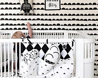 Crib Organizer / Monochrome Cot Organizer / Black And White Bed Pocket Organizer / Baby Bedding Accesories / Baby Room Decor / Toy Storage -    Edit Listing  - Etsy
