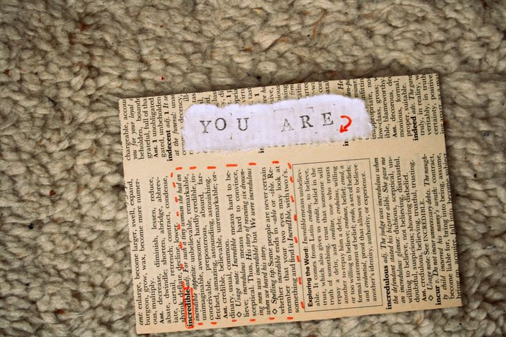 DIY postcard ''you are incredible''. (old dictionary paper and stamps)