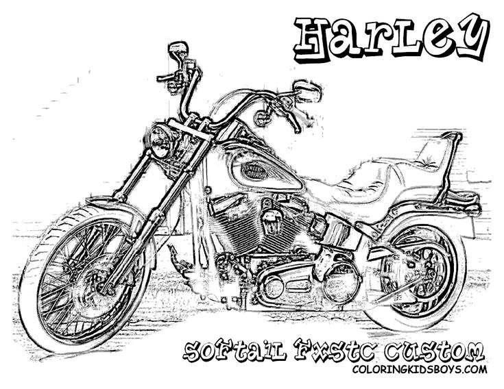 Harley 06 Softail Fxst Standard Coloring Pages Book For Kids | What ...