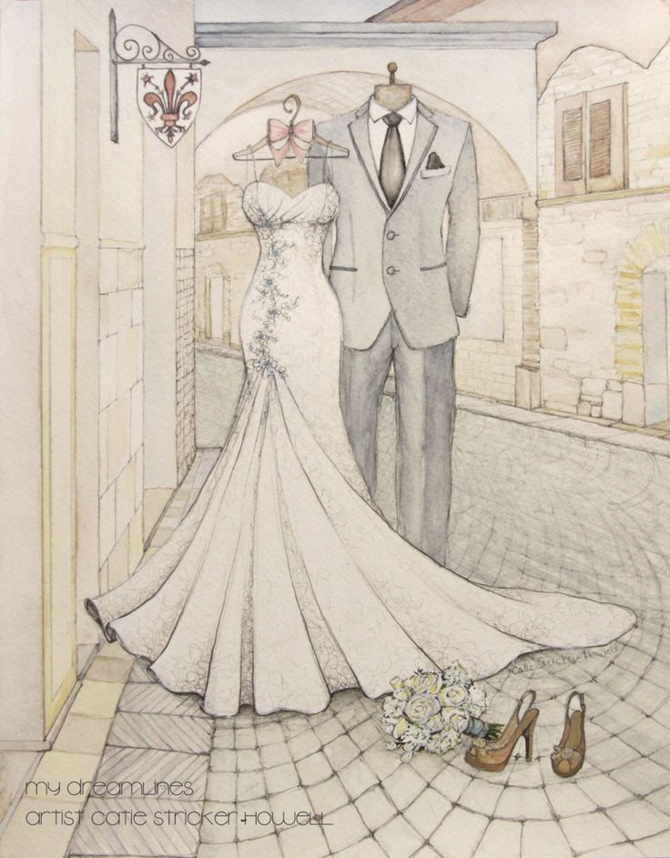 Destination wedding deserves a sketch that shows the destination. Sketch by Catie Stricker-Howell