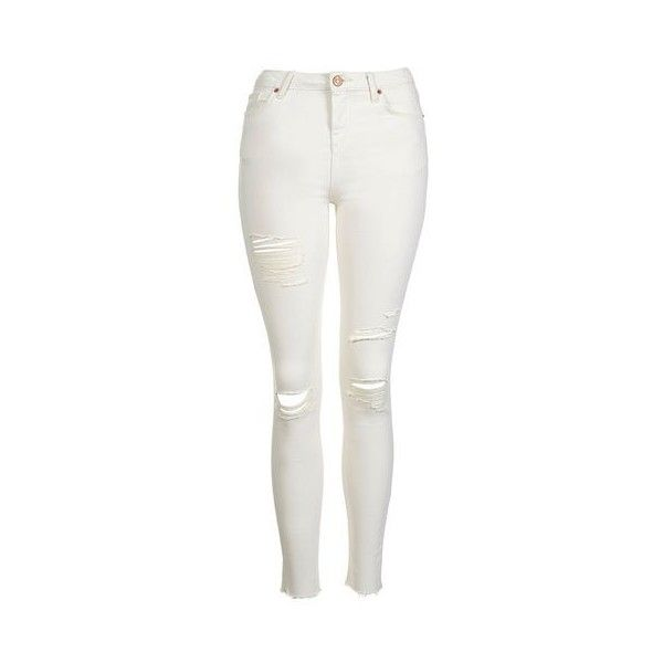 TopShop Moto Ecru Super Rip Jamie Jean ($59) ❤ liked on Polyvore featuring  jeans. White Ripped Skinny JeansWhite High Waisted JeansWhite Distressed ... - The 25+ Best White High Waisted Jeans Ideas On Pinterest White
