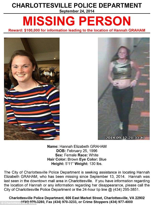 Police released a new missing person poster for UVA student Hannah - missing people posters