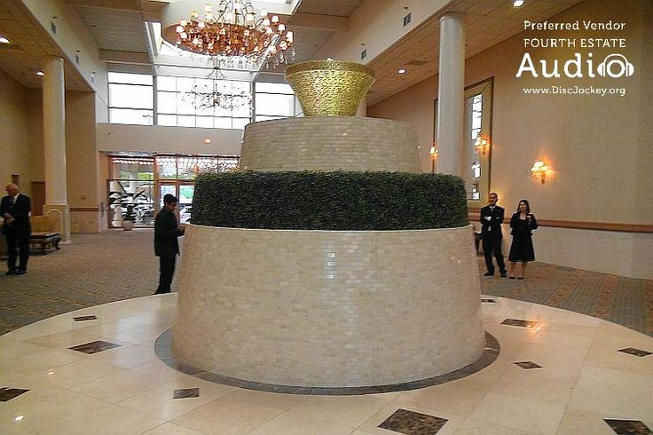 The dramatic fountain at the center of Meridian Banquets. A great photo space for weddings. http://www.discjockey.org/meridian-banquet-and-conference-center/