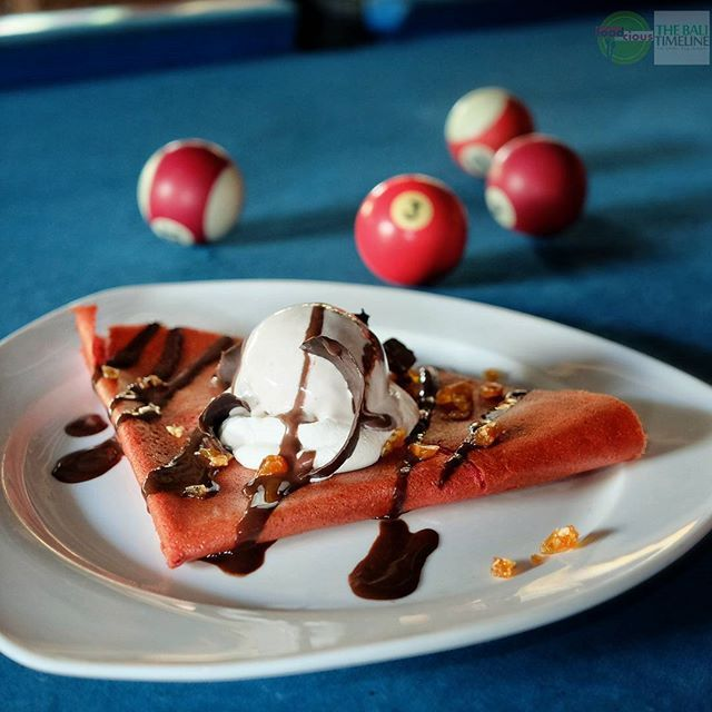 Food Blog Bali  #Food: Red Velvet Crepes #Delicious: 3.5/5 #Foodcious: the delicious of flapjaks beetroot crepes with cream cheese chocolate flakes coco crunch chocolate sauce & served with choice of gelato is a mood booster for your hot day in Bali    Flapjaks Sanur Rp 50k  Jl. Danau Kerinci No. 19 #Sanur    #crepes #redvelvet