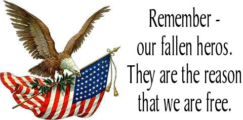 "Others_Words_PATRIOTIC_""Remember our fallen heros. They are the reason that we are free."""