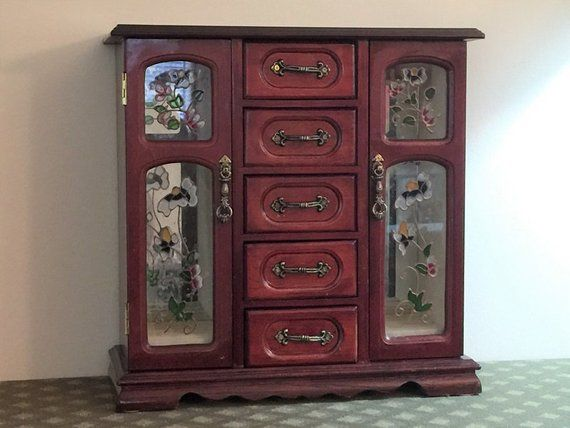 Vintage Hand Made Armoire Jewelry Cabinet Box Storage Chest Stand