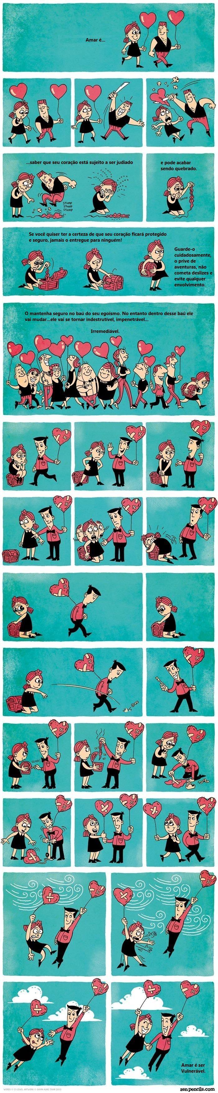 Amar é ser vulnerável - Incrível tirinha sobre o significado de amar - Mundo Interpessoal