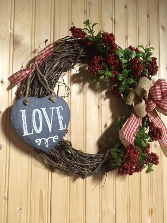 Valentine Wreath Farmhouse Wreath Grapevine Wreath Heart Valentine Door Decorations Valentine Decorations Valentines
