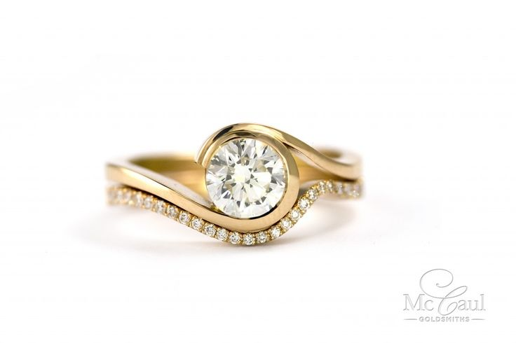 'Wave' diamond set fitted wedding and engagement rings in 18ct rose gold, McCaul