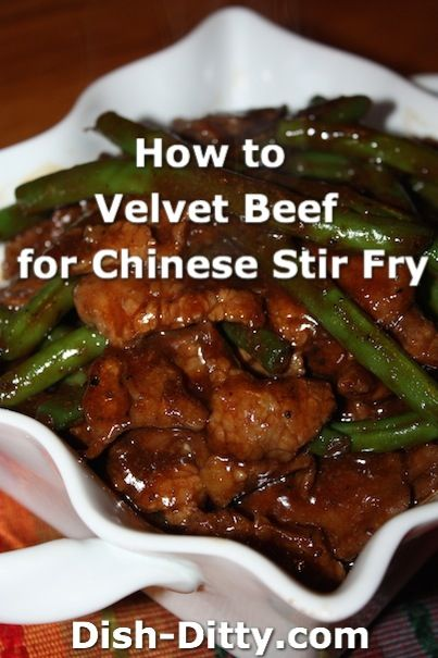 How to Velvet Beef or Chicken for Chinese Stir Fry by Dish Ditty Recipes - Chinese Restaurant's have the softest most tender beef you will find. What's the secret? They use a process called 'Velveting' to tenderize the meat before they cook it in their stir fry dishes.    - http://www.dish-ditty.com/recipe/velvet-beef-chicken-chinese-stir-fry/