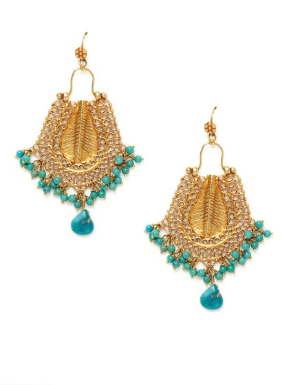 Turquoise & Filigree Curved Chandelier Style Earrings, click link to find...