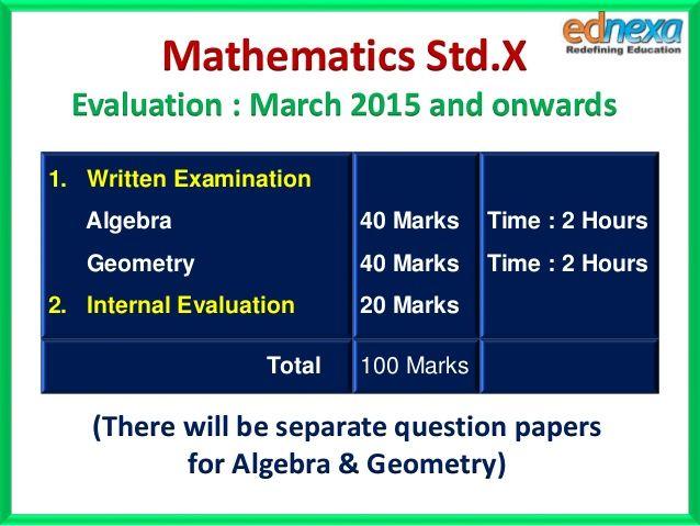 10th Maths Syllabus and Evaluation Scheme http://www.ednexa.com/ssc-blog/10th-maths-syllabus-evaluation-scheme/