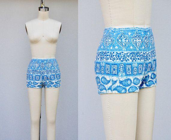 Vintage Bikini Shorts  High Waist Shorts  50s 60s by ItaLaVintage