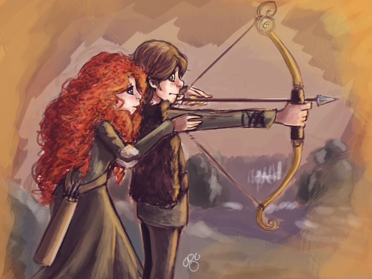 """Merida and Hiccup by pandatails.deviantart.com on @deviantART  again, sigh, wish i could shoot with them...i love archery & hav a bow! :)"