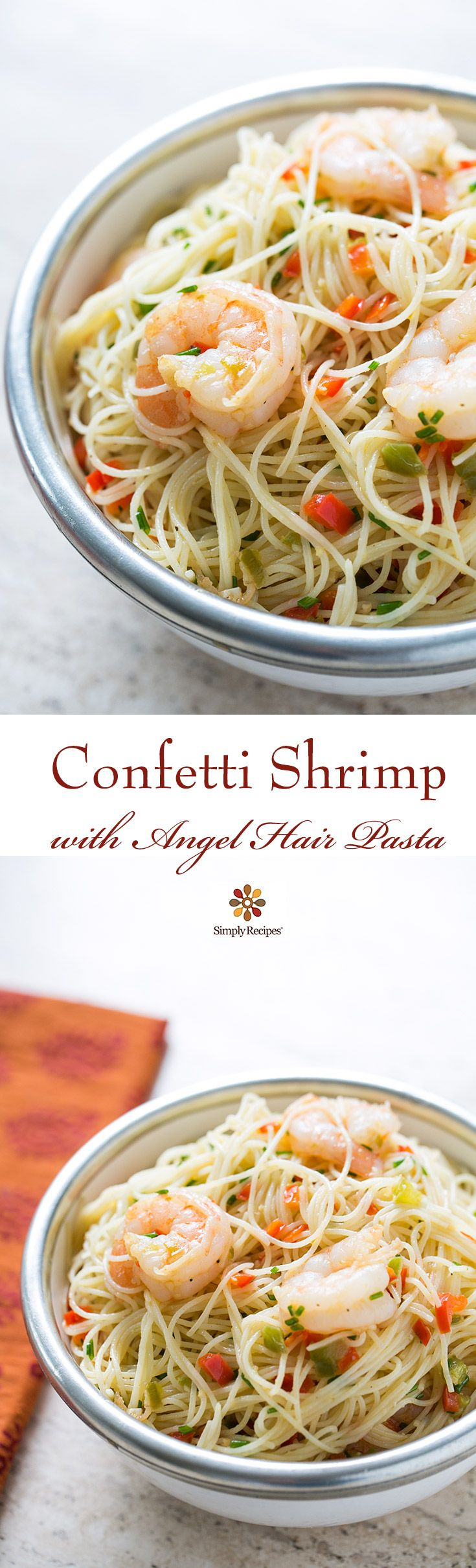 Easy! Shrimp sautéed in olive oil with ginger, garlic, and colorful red and green bell pepper, tossed with angel hair pasta. ~ SimplyRecipes.com