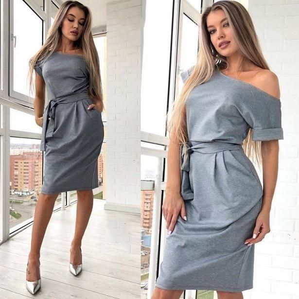 4628b33e5ae 2018 Summer Fashion Casual Ladies Knee-Length Dress Sexy Off Shoulder Slash  neckrricdress Dress Sash