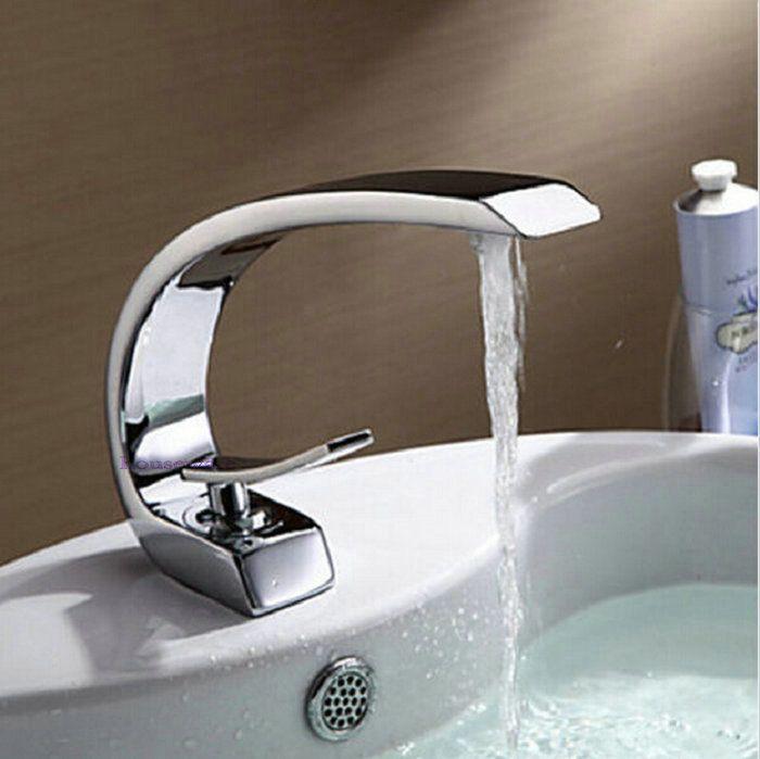 Ванной кран высокое качество дуги дизайн раковины ванной комнаты кран на бортике одно отверстие хром латунь смеситель zx224