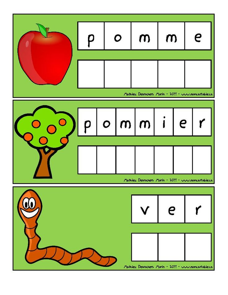 Mon cartable - Site de partage de ressources entre enseignants du préscolaire et du primaire - www.moncartable.ca - Mots à écrire sur le thème des pommes - mots étiquettes