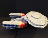 3D Enterprise D Star Trek The Next Generation perler bead creation