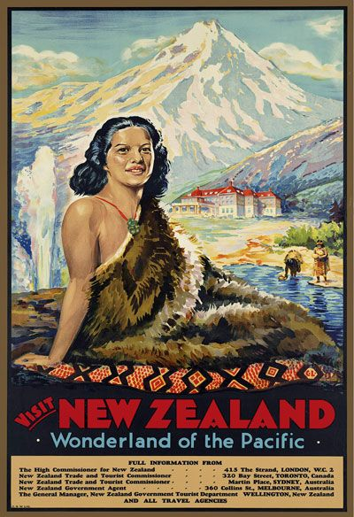 Vintage Visit New Zealand Travel Poster