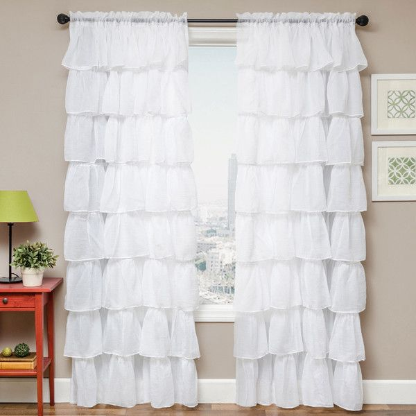 Shaina White Rod Pocket Curtain Panel (140 BRL) ❤ liked on Polyvore featuring home, home decor, window treatments, curtains, white, pocket curtains, white curtain panels, rod pocket panel, white window curtains and rod pocket curtains