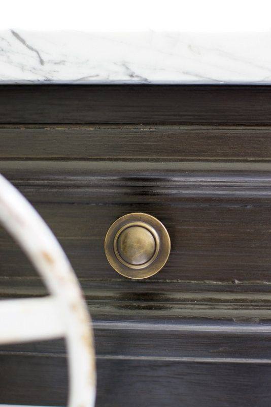 a detail of our bathroom vanity, done in layers of chalk paint & milk paint.