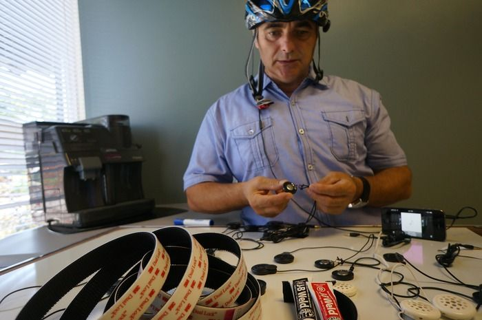 Lou Tortola sampling audio from different speakers for the AudioPLUX™ prototype.