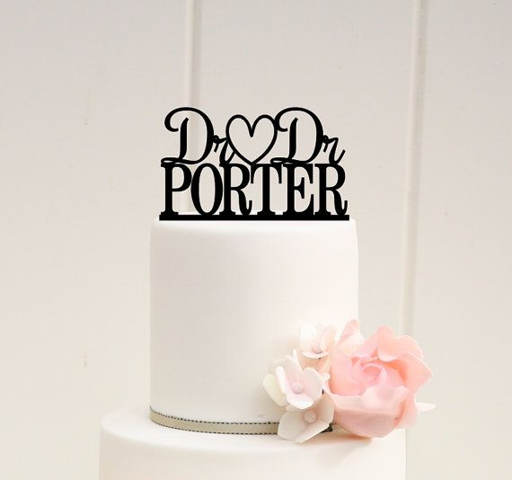 Dr and Dr Wedding Cake Topper Personalized with by ThePinkOwlGifts