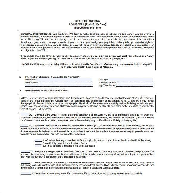 Will And Trust Forms Living Will Template 8 Download Free Documents In Pdf Living Will Template Power Of Attorney Form Form