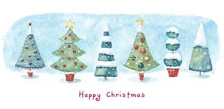 """Row of Trees. 83 x 165mm. £3.00. All cards come in packs of 10.  Greeting in cards: """"With Best Wishes for Christmas and the New Year."""""""