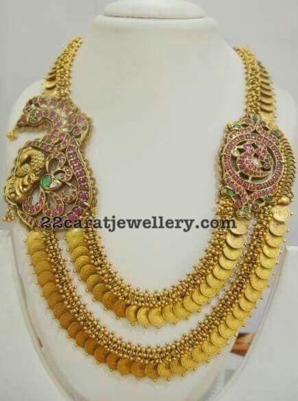 2 Layer Kasu Mala with Peacock Motifs - Jewellery Designs
