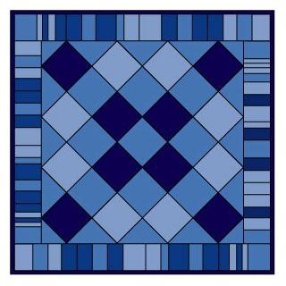 Put plain blocks of different colors on point and surround them with a pieced border made from random bars.