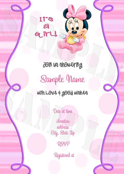Personalized Photo Invitations | Cmartistry : Minnie Mouse Baby Shower  Party Invitations  Bsmm5