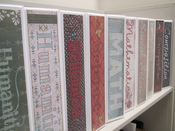 Good way to use up left over scrapbooking papers and make the folders in the desk look tidy.