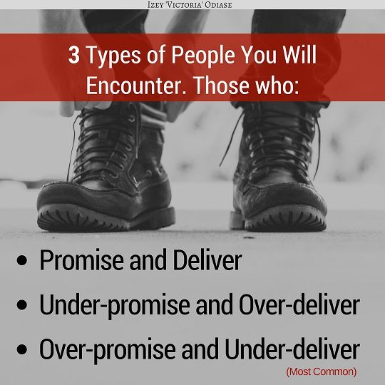 3 Types of People You Will Encounter. Those who: . 1) Promise and Deliver 2) Under-promise and Over-deliver 3) Over-promise and Under-deliver . . . . . . #People #Promise #Promises #Selling #Sales #Marketing #Promoting #HumanNature #Human #Flaw #Attraction #Relationships #Relationship #Friendship #Love #lust #Bae #HeartBreak #Hurt #Psychology #Heart #Heartache #MrRight #MissRight #Goals #Handsome #Beautiful #Quotes #Motivation #MotivationalQuote