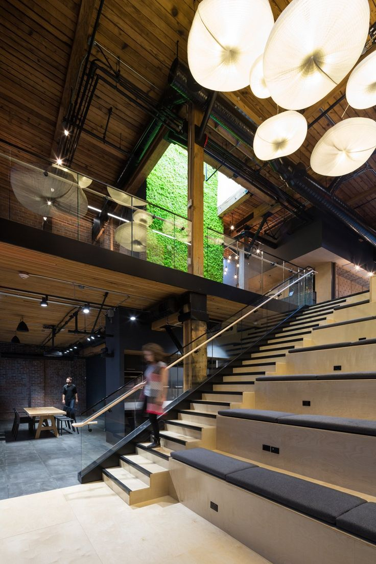 Slack Offices – Vancouver. Software company. Breakout. Collaboration. Team space. Meeting space. Active stair. Presentation space.