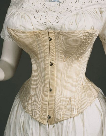 White silk moiré corset 1860-70 (via Philadelphia museum of art).