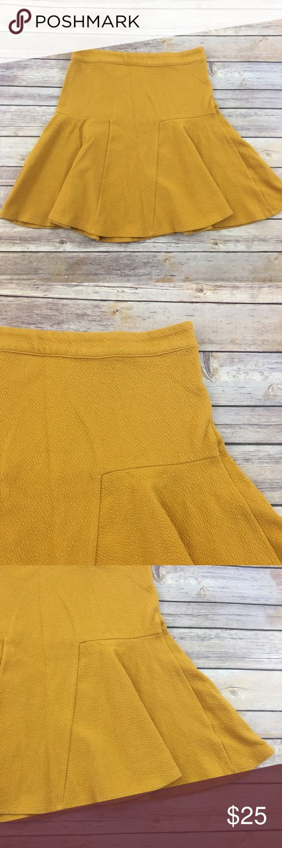 Maeve mustard yellow skirt Cute mustard yellow textured skirt by Maeve Anthropologie. Good condition. Measures about 30 inches around the waist and is about 19 inches long. Anthropologie Skirts A-Line or Full