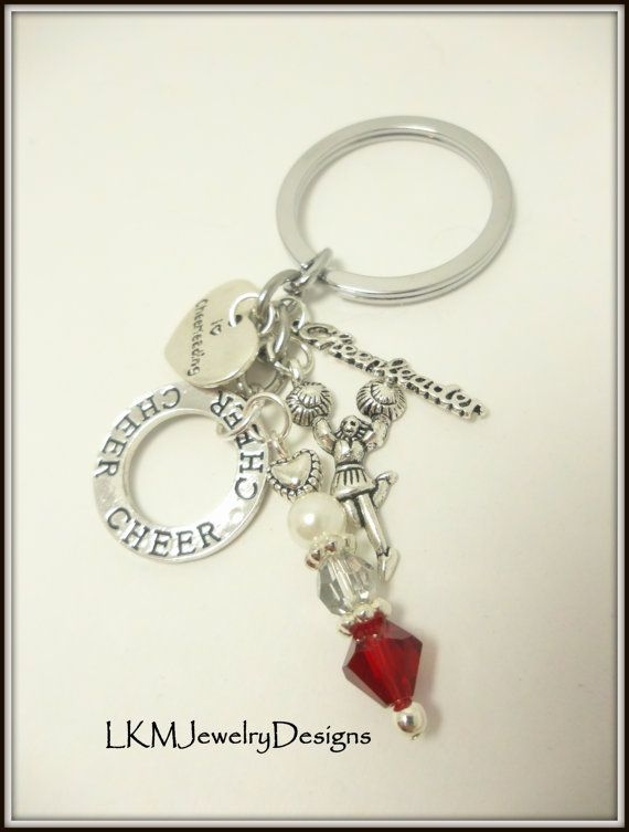 Great Team gift idea! You pick your school colors! Cheerleading Keychain Jewelry red Cheer by LKMJewelryDesigns