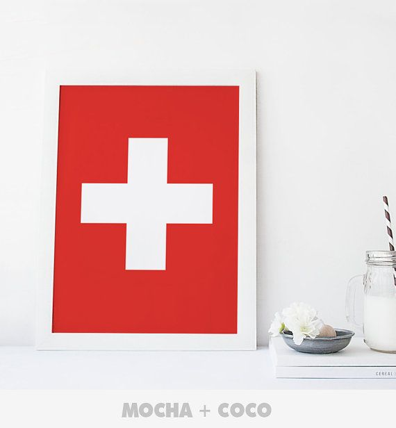 Swiss Flag Minimal Cross Poster, Geometric Wall Art, Startup Minimal Decoration, Printable Mocha + Coco, Intstant PRINT FILE DOWNLOAD